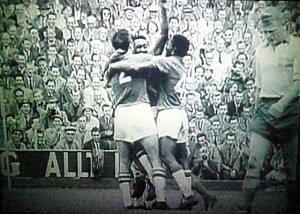 Brazil celebrates a goal against Sweden in the 1958 World Cup. Image: Eduardo Zarate