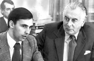 Whitlam with a young Paul keating.