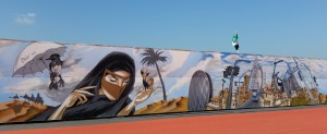 Graffiti in Dubai pays tribute to UAE culture. Image: Sajjeling