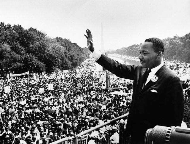 MLK addresses the crowds. Image: US Department of Defense.