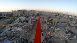 Red carpet in Gaza for the Karama Human Rights Film Festival.