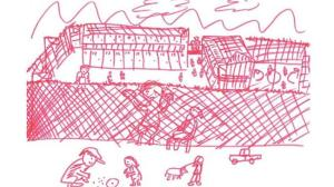 A child draws themselves watching other children play from behind a detention centre fence. Image: Australian Human Rights Commission.