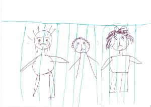 Many of the drawings submitted to the National Inquiry into Children in Immigration Detention 2014 depicted children in jail. Image: Australian Human Rights Commission.