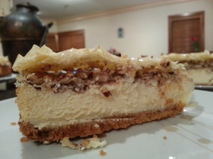 East meets West in this baklwa cheesecake. By: Miran Hosny