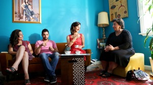 Arab-Australian actors (left to right): Rose Souaid, George El Hindi, Abbey Aziz, and Alissar Gazal on the set of webseries I LUV U BUT.  Image supplied.