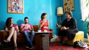 Arab-Australian actors (left to right): Rose Souaid, George El Hindi, Abbey Aziz, and Alissar Gazal on the set of webseries I LUV U BUT.  Image supplied.
